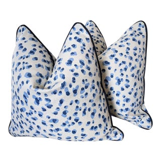 Rack Leopard Pillow Covers in Blue With Navy Velvet Welt - a Pair For Sale
