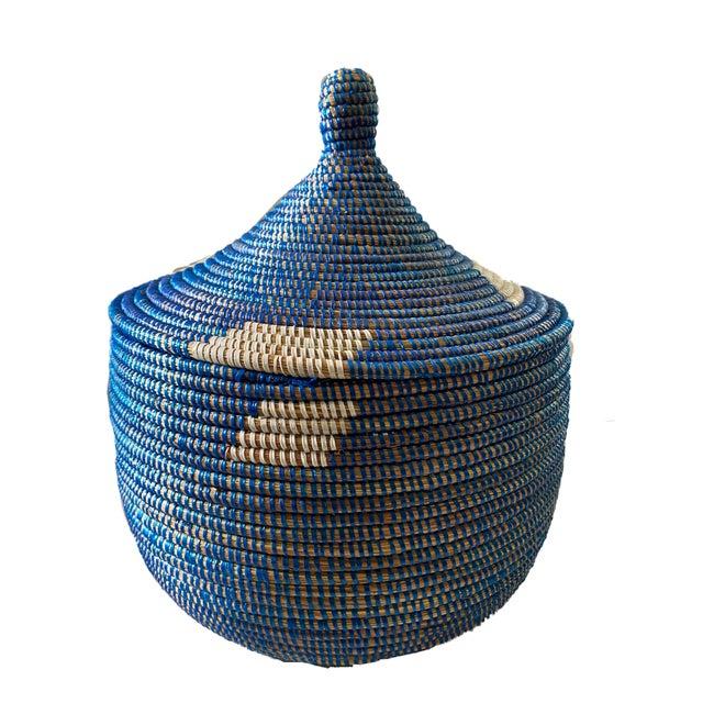 "2010s Colorful Basket W/ Lid Senegal West Africa 15"" H For Sale - Image 5 of 6"