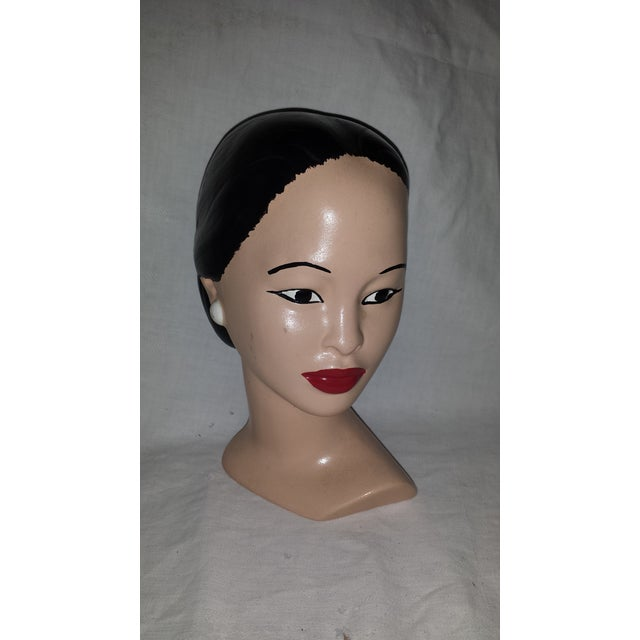 Vintage Ethnic Marwal Style Woman Lady Head Bust Earrings Hair in Bun in excellent condition with no chips and very little...