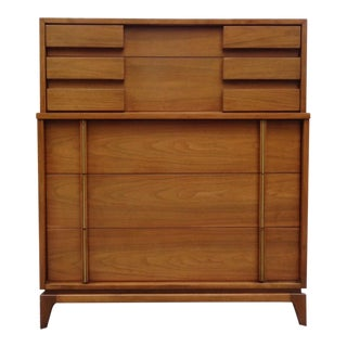 Mid Century Modern American of Martinsville Brutalist Walnut Dresser For Sale