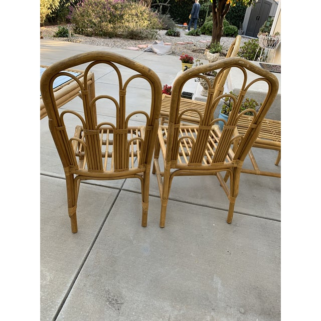 1970s Boho Chic Bamboo Dining Set of Six Chairs For Sale - Image 9 of 13