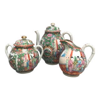 Antique Rose Mandarin Tea Service - Set of 3 For Sale