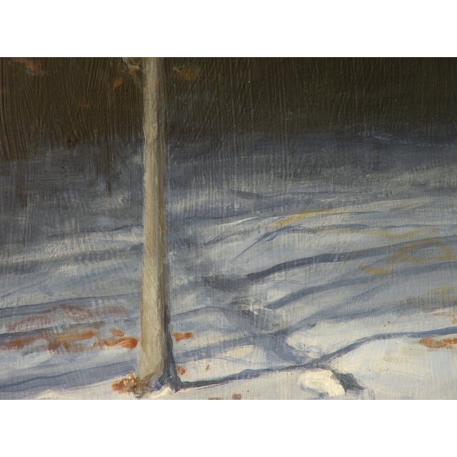 Snowy Back Yard in Winter Original Painting - Image 5 of 7