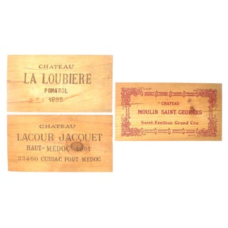 Vintage French Wine Box Panels, Set of 3 For Sale