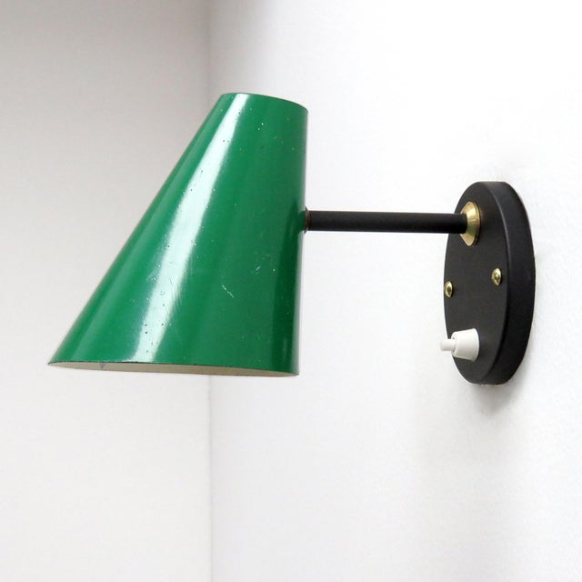Jacques Biny Green Jacques Biny Wall Lamps, 1950 - a Pair For Sale - Image 4 of 9