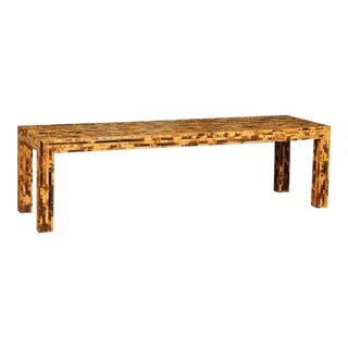 Handsome Vintage Bamboo Tortoise Shell Style Coffee Table or Bench