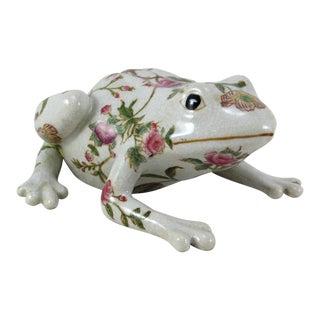 Italian 1950s Flowered Ceramic Frog