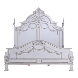 Bed Victorian King Old Lace White Solid Wood For Sale