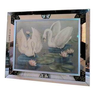 1940's Mirrored Framed Swans For Sale