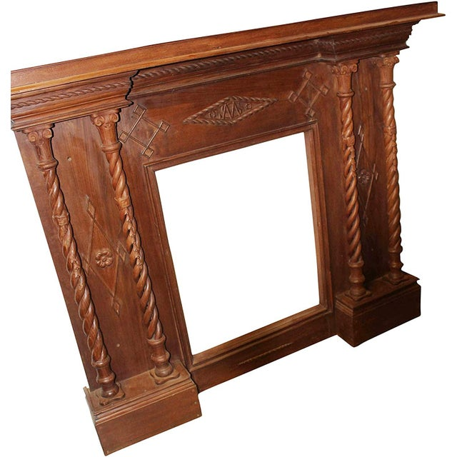 Antique Indian beautifully hand carved Fire console with flat top to display family photos, decorative piece and many...