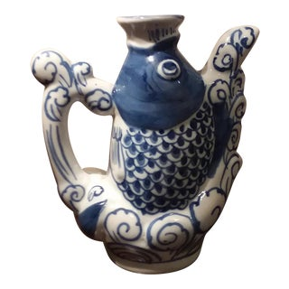 Mid 20th Century Vintage Blue & White Chinese Porcelain Koi Fish Tea Pot For Sale