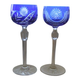 Bohemian Crystal Blue Cut to Clear Wine Glasses - a Pair For Sale