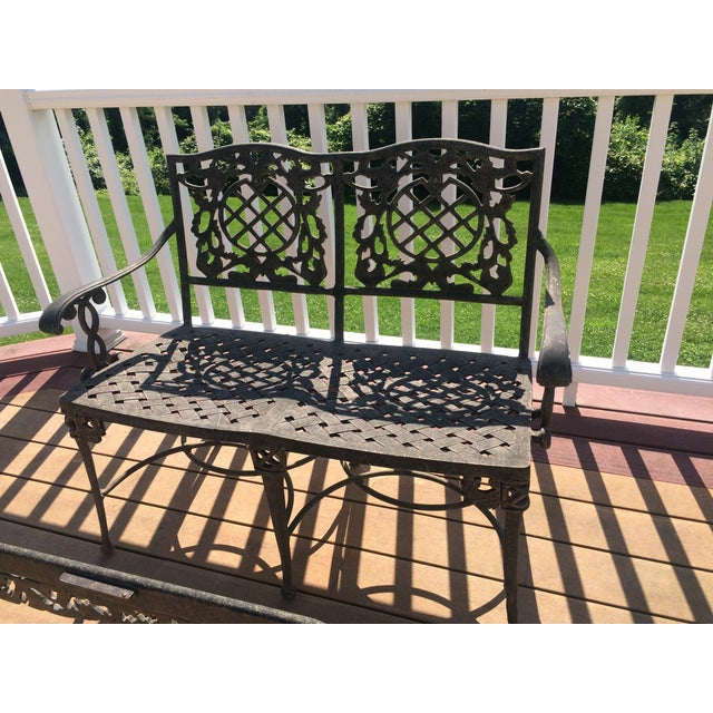 Cast Classics Cast Aluminum Settee & Table - A Pair - Image 8 of 11