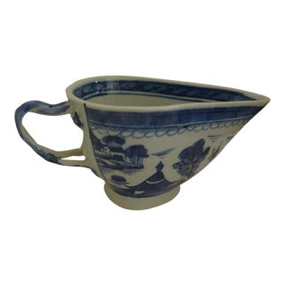 19th Century Antique Canton Sauce Boat For Sale
