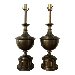 1960s Mid Century Modern Stiffel Bronze Lamps - a Pair For Sale
