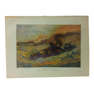"Vintage American Maritime Ship Color Print, ""Destroyers in a Seaway"", Frederick A. Stokes Co., 1926 For Sale"