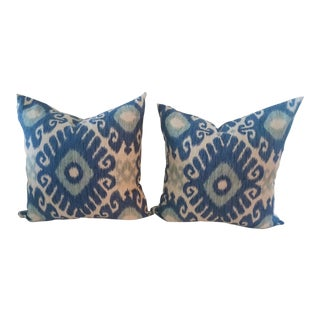 Blue & Teal Kravet Silkscreen Linen Pillows - A Pair For Sale