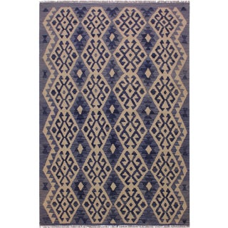 Contemporary Kilim Angelika Blue/Gray Hand-Woven Wool Rug - 4'6 X 6'3 For Sale