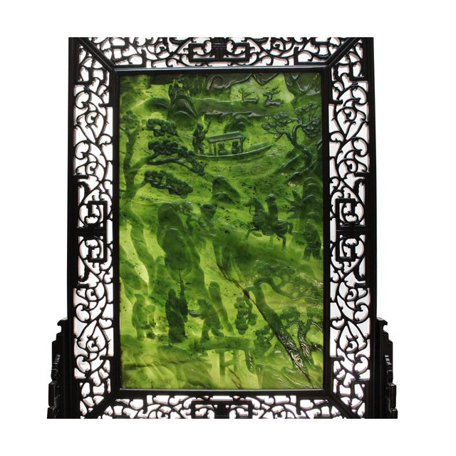 Green Chinese Vintage Spinach Green Stone Scenery Carving Table Top Wall Panel Displa For Sale - Image 8 of 13