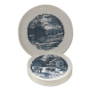 Currier & Ives Blue Transfer Ware Dessert Plates - Set of 5