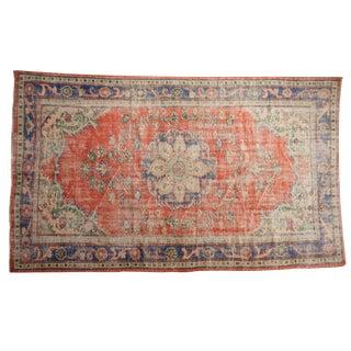 "Vintage Distressed Oushak Carpet - 5'9"" X 9'5"" For Sale"
