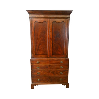 Banks Coldstone by Sarreid George III Linen Press Style Tv Armoire Cabinet For Sale