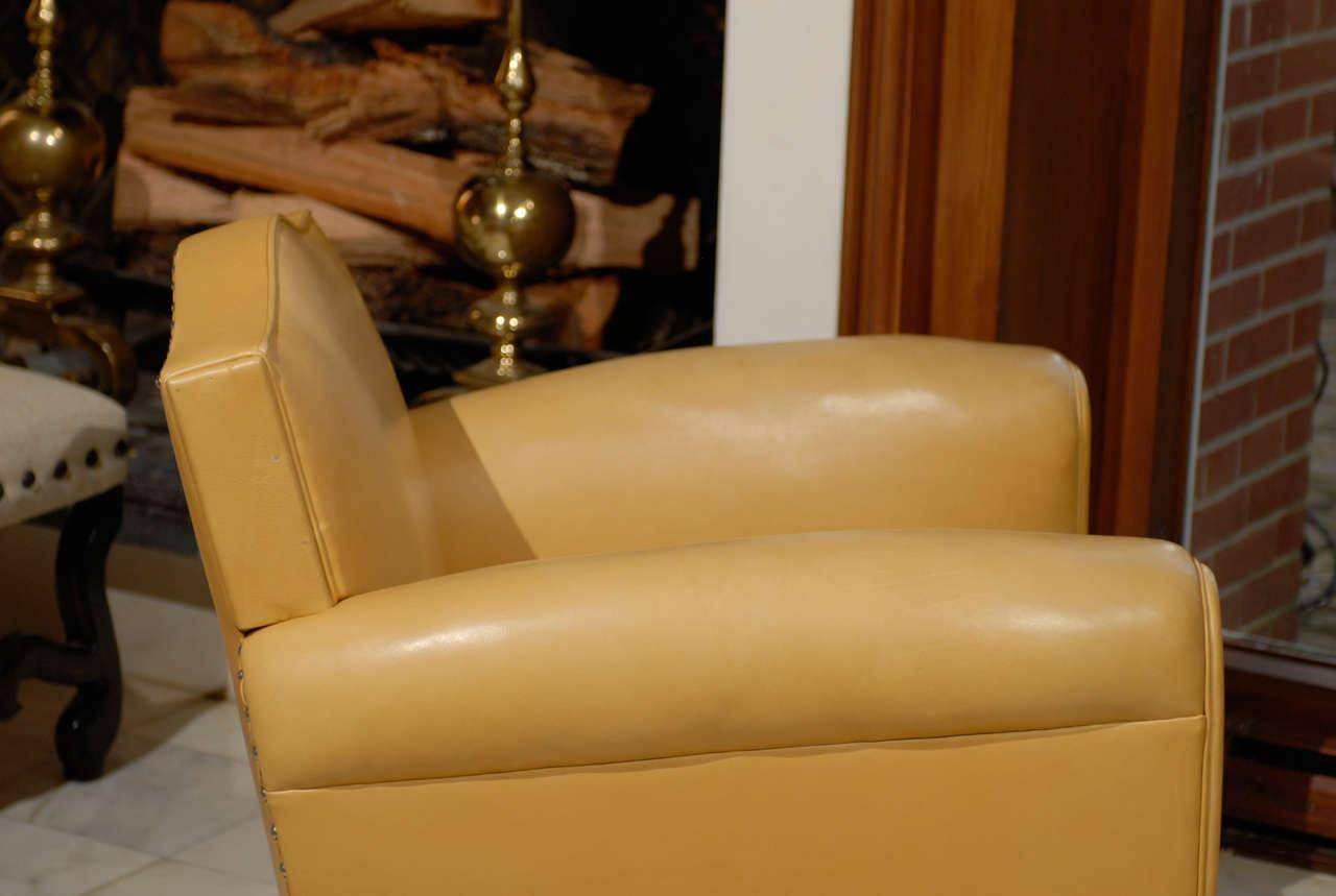 Handsome Art Deco Club Chairs In Yellow Ochre Leather   Image 8 Of 11