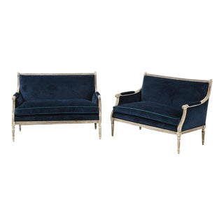 Louis XVI Style Painted Navy Velvet Settees (Pair Available) For Sale
