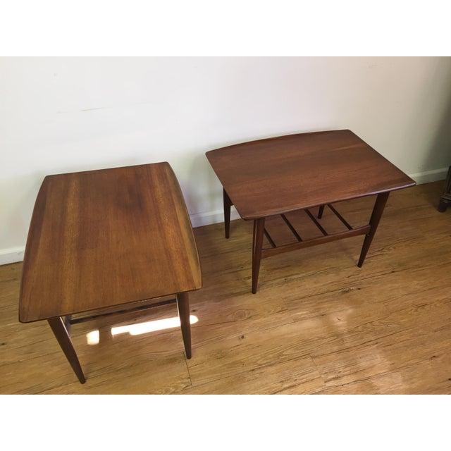 Bassett Mid-Century Two Tier Walnut Surfboard Side Tables - Pair - Image 11 of 11