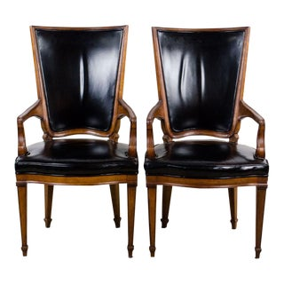20th Century Hepplewhite John Widdicomb Black Leather Arm Chairs - a Pair For Sale