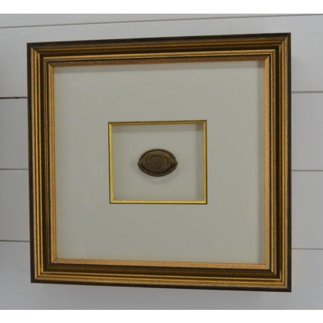 Campaign Federal Eagle Drawer Pulls, Set of 2, Framed, Antique For Sale - Image 3 of 6