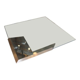 Brueton J. Wade Beam Cantilevered Brushed Stainless Steel Coffee Table For Sale