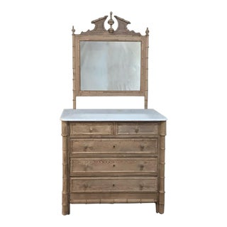 19th Century Faux Bamboo Marble Top Dresser For Sale