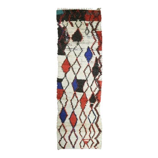 Hand Knotted Vintage Moroccan Runner - 3' X 8' For Sale