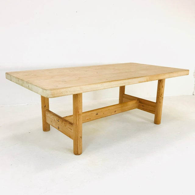 1970s Substantial Solid Scandinavian Pine Butcher Block Dining Table For Sale - Image 5 of 13