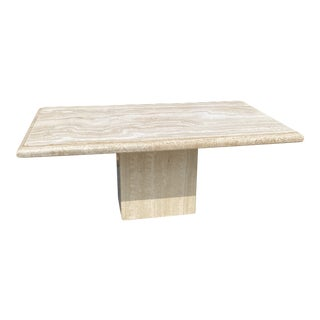 1980s Italian Travertine Marble Dining Table, Indoor/Outdoor. For Sale