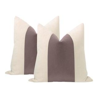 "22"" Smokey Lavender Mohair Velvet Panel & Linen Pillows - a Pair For Sale"