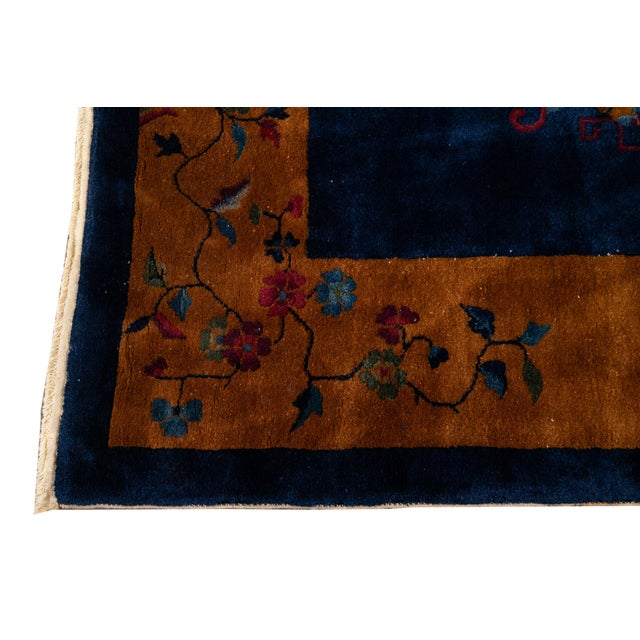 Early 20th Century Antique Art Deco Chinese Wool Rug For Sale In New York - Image 6 of 13
