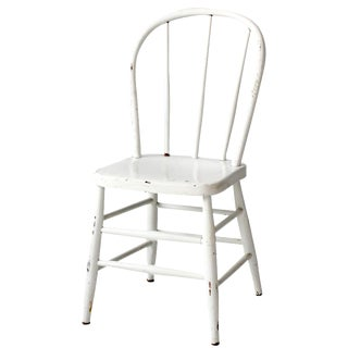 Vintage White Wood Spindle Chair For Sale