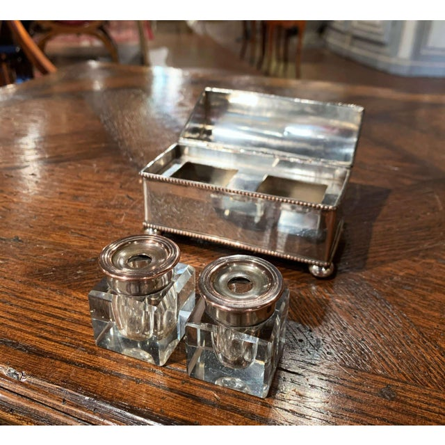 19th Century French Silver Plated Over Copper Casket Inkwell For Sale - Image 4 of 12