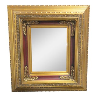 French Style Gilt Carved & Red Square Mirror