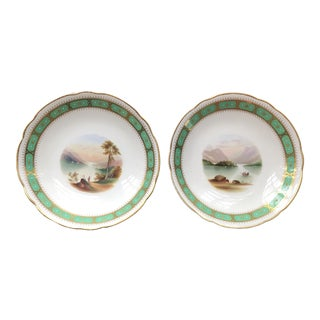 Early 19th Century English Hand Painted Footed Compotes - a Pair For Sale