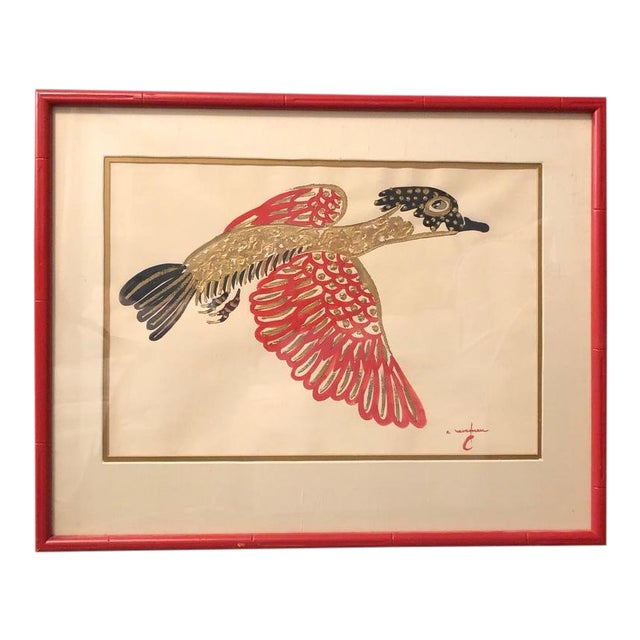 Gold/ Red/ Black Bird Acrylic Painting in Red Bamboo Frame For Sale
