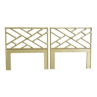 Vintage Rattan Twin Fretwork Headboards - a Pair