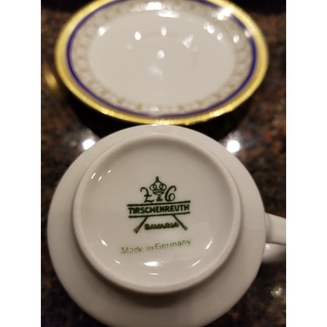 1980s Collection of Eleven German Porcelain Demitasse Cups and Saucers For Sale - Image 5 of 9