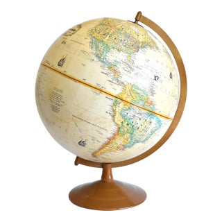 "Vintage 12"" Replogle Globemaster Topographical Relief Globe For Sale"