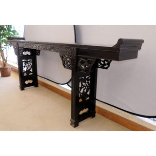 Antique Asian Hand Carved Wood 9-Foot Console or Alter Table Preview