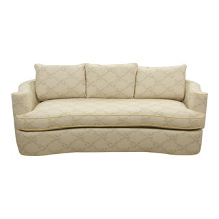 Bernhardt Midcentury Curved Floral Settee For Sale