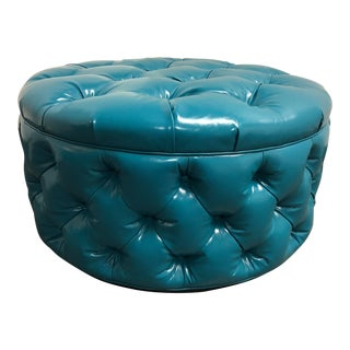 Brand New Vanguard Furniture Tufted Teal Ottoman For Sale