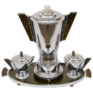 Art Deco Chrome and Bakelite Coffee Service by Manning Bowman For Sale